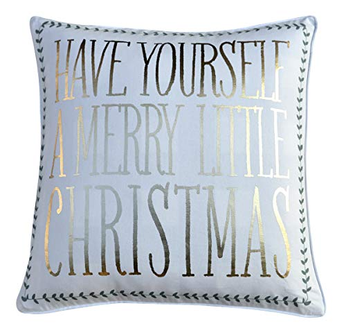 FANTASY HOME Merry Christmas Accent Pillow Cover, Metallic Print Cotton Decorative Throw Pillow Case, Welted Square Cushion Cover 20