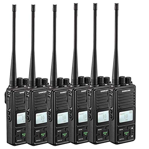 - SAMCOM FPCN10A Two Way Radio, 20 Channel GMRS Walkie Talkie UHF 400-470MHz 2 Watt Wireless Intercom with Group Function, Earpiece & Belt Clip Included - Black (Pack of 6)