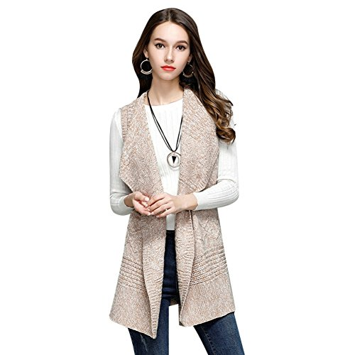 Elfjoy Women's Sleeveless Sweater Vest Lapel Solid Cardigan Open Front Lightweight Vest (Beige M) by Elfjoy