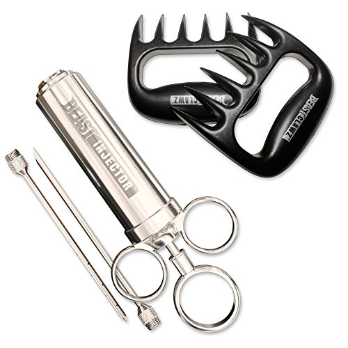 Grill Beast - Stainless Steel Meat Injector Kit with Meat Shedding Fork Claws - Smoker and Grilling Accessories 2pc Combo Kit