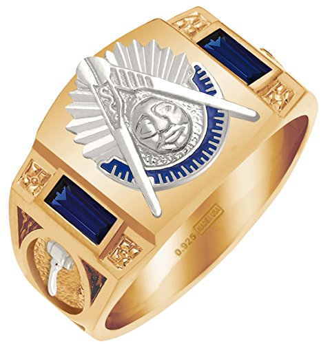 Past Masters Jewel (Customizable Men's Solid Back Vermeil with 0.925 Sterling Silver Emblems Simulated Birthstone Past Master Ring)