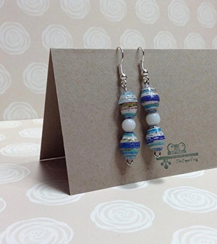 Recycle Glass Bead (Blue and White Paper and Glass Bead Earrings)