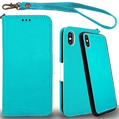 Mefon iPhone Xs Max Detachable Leather Wallet Phone Case, with Tempered Glass and Wrist Strap, Enhanced Magnetic Closure, Luxury Flip Folio Case for Apple iPhone Xs Max 6.5 inch 2018 (Turquoise) (Wallet For Women Turquoise)