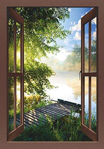 Artland Qualitätsbilder I Bild auf Leinwand Leinwandbilder Wandbilder 70 x 100 cm Landschaften Gewässer Foto Grün D3AR Angelsteg am Fluss am Morgen Fensterblick