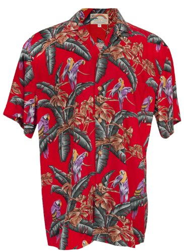 Jungle Parrots - Men's Hawaiian Print Aloha Shirt - in Red (Rayon)-L (Parrot Print T-shirt)