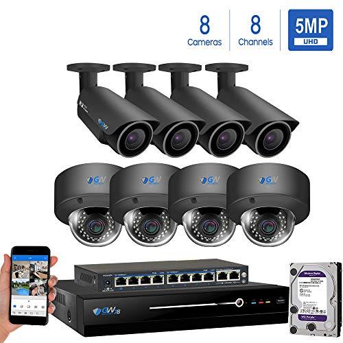 GW Security AutoFocus 4X Optical Motorized Zoom IP Camera System, 8 Channel H.265 4K NVR, (4) Bullet & (4) Dome 5MP HD 1920P Weatherproof POE Security Camera (Best Autofocus Camera App)
