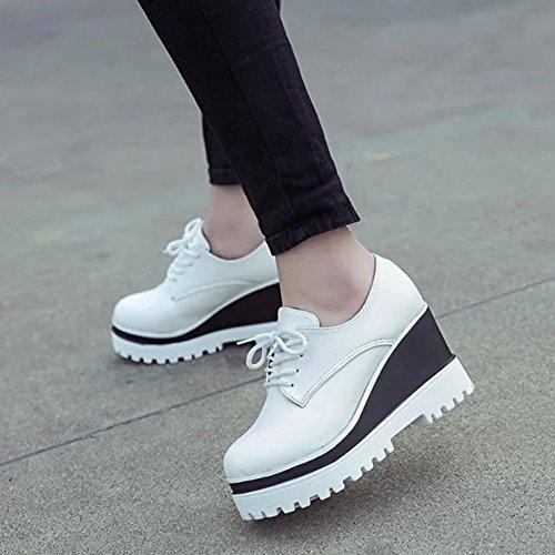 Cybling Womens Crescente Piattaforma Altezza Scarpe Moda Sneaker Bianco