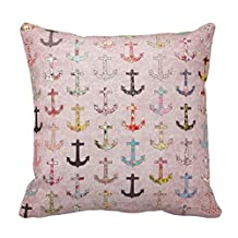 Perfect gift shop Fashion Home Decorative Pillowcase Gift Girly Floral Nautical Anchors Pink Lace ##:651 18 x 18 one Sides