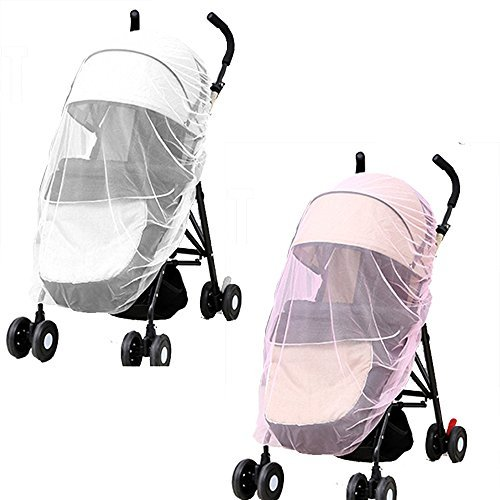 2 Pack Baby Mosquito Net,Universal Mosquito Netting for Strollers Infant Carriers Car Seats Cradles Ultra Fine Mesh Protection Against Mosquito bugs White & Pink STARUBY