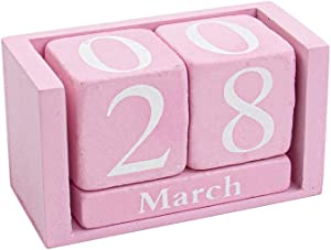 AUEAR, Wooden Block Perpetual Desk Calendar Desktop Rustic Chic Number Pink for Home Office Decoration