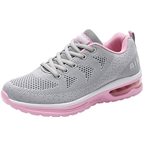 JARLIF Women's Lightweight Athletic Running Shoes Breathable Sport Air Fitness Gym Jogging Sneakers US5.5-10 (9.5 B(M), GreyPink)