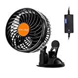 Xcellent Global 24V Car Fan Vehicle Fan Stepless Rotatable Summer Cooling Air Circulator AT031 (24V)
