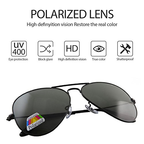 Aviador polarizado el con Protección gafas UV 400 Black conducción Black de 4sold sol de Hombre caso xqIw4xpX