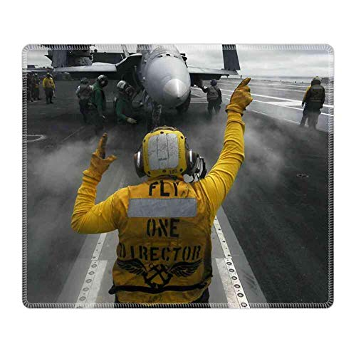 Mouse Pad Rectangle Mouse Pad Aircraft Carrier Jet Fighter Flight Chief Deck Ship #79571 Light Weight 260mm210mm3mm ()