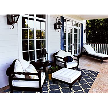 Brown Jordan Prime Label Patio Furniture Rug 9x12 Seneca Collection Sisal Modern Navy Outdoor Rugs, Blue, XL
