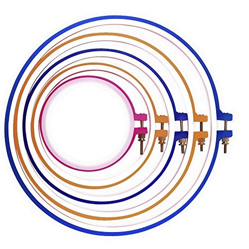 5 Piece Hand Embroidery and Cross Stitch Hoop Set - 5 Inch to 11 Inches- Various Colors and Size for all needlecraft needs