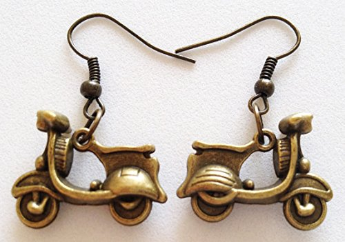 MOTORBIKE Earrings Scooter Pendant Charm Dangle Earrings 3D Charm Vintage Charm Retro Jewelry Great Gift for Motorbike Lovers Bronze Charm