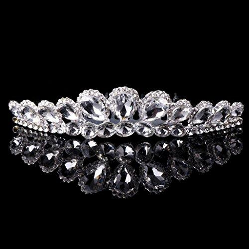 Dairyshop corona principessa Donne da sposa strass perla di Faux Fiore Corona fascia diadema