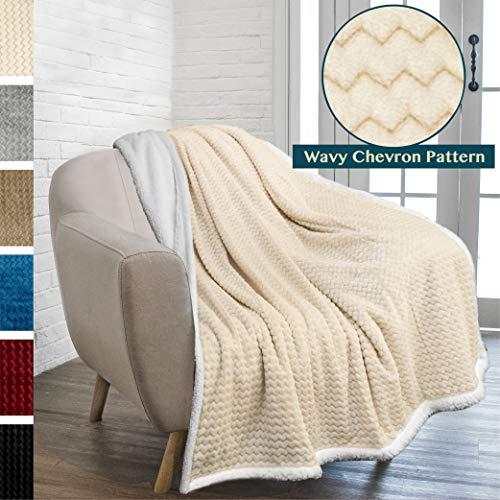 - PAVILIA Premium Chevron Sherpa Throw Blanket for Couch Sofa | Super Soft, Plush, Fuzzy Lap Blanket | Reversible Textured Velvet Beige Cream Throw | 50x60 Inches All Season