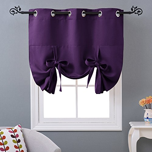 NICETOWN Blackout Curtain Window Drape - Thermal Insulated Tie Up Shade Panel for Small Window (Eyelet Top Panel, 46