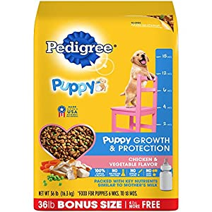Pedigree Puppy Growth & Protection Dry Dog Food Chicken & Vegetable Flavor, 36 Lb. Bag