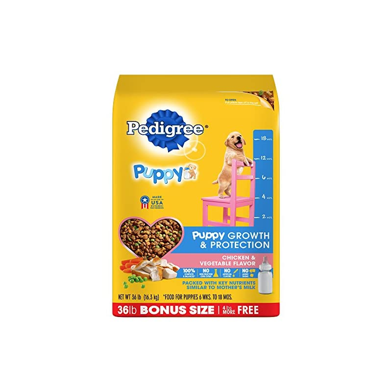 dog supplies online pedigree puppy growth & protection dry dog food chicken & vegetable flavor, 36 lb. bag