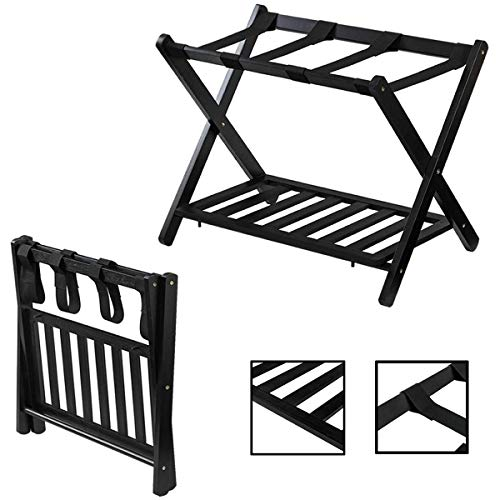 Ramco 2 Tiers Wooden Folding Luggage Rack Shelf Storage Stand Briefcase Suitcase Holder | Heavy Duty Wood Support 88Lb Stable Sturdy Safe Durable Tidy | for Bedroom Hotel Pack Unpack Guestroom Home
