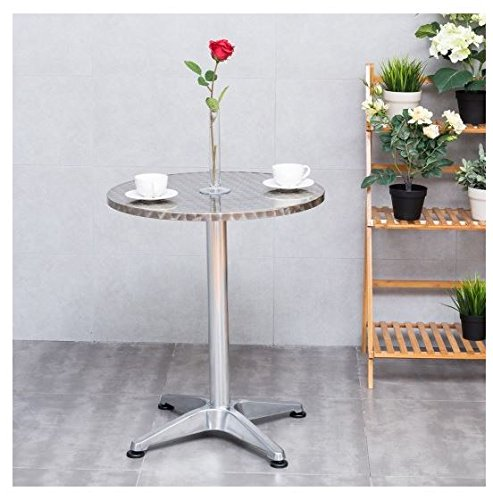 MD Group Table Bistro Cafe Round Stainless Steel Aluminium 23 1/2'' Light-weight Waterproof by MD Group