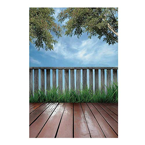 Patio Decor Stylish Backdrop,Wooden Seem Terrace Veranda with Olive Trees in Open Sky Photo for Photography,59