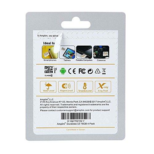 Amplim 4 Pack 16GB Micro SDHC U3 Card Plus SD Adapter Extreme Pro Class 10 UHS-I MicroSDHC 95MB/s Read, 50MB/s Write. Ultra High Speed HD UHD 4K Video. Internal/External MicroSD Flash Memory Storage by Amplim (Image #3)