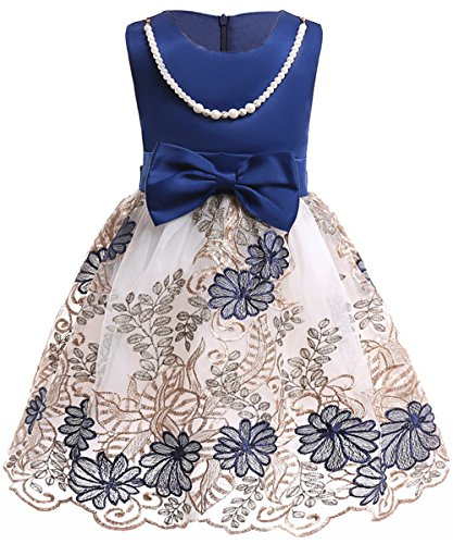 Kids Evening Pageant Ball Gown Bridesmaid Dresses Costume Royal Blue (Old Ball And Chain Costume)