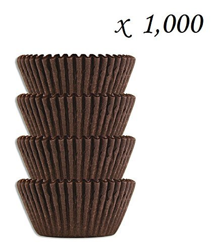 #4 Brown Glassine Paper Candy Cups - Chocolate Peanut Butter Baking Liners (1000) by SunAmerica
