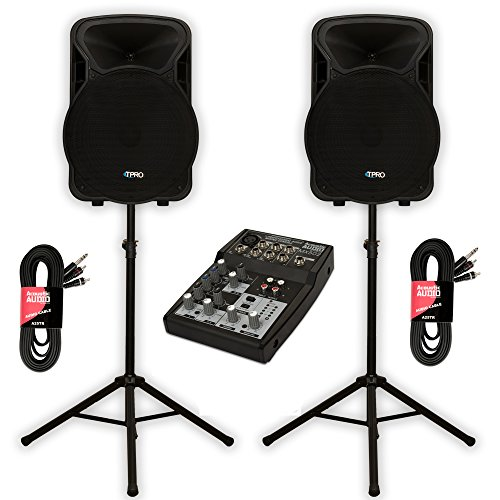 Technical Pro PVOLT15BT Bluetooth 15'' Active 3000W Speakers with Mixer and Stands DJ Set by Technical Pro