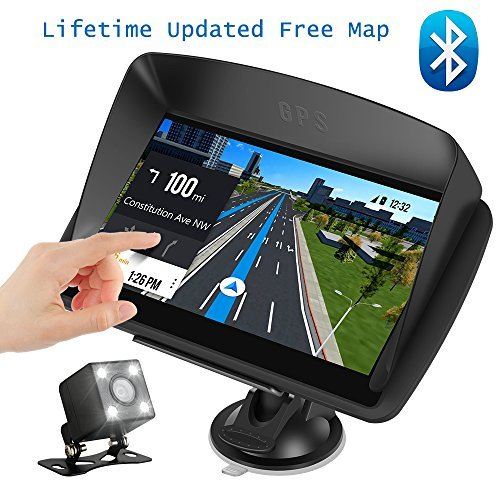 """Car GPS Navigation, 7"""" Capacitive Touch Screen + Rear View Camera, DONGKER Voice Prompt GPS Navigation for Car with Lifetime Maps and Traffic, Bluetooth"""
