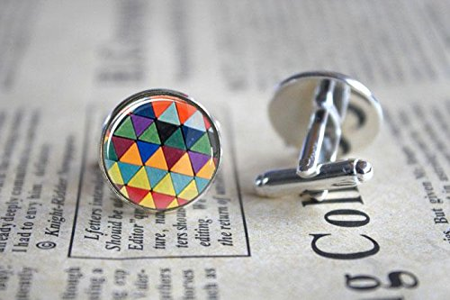 Silver Pattern Cufflinks - Vintage Colorful Geometric Pattern Glass Cuff Links-Silver Luxury Colorful Pattern Cufflinks for Men Women-Handmade Shirts Dress Suits Christmas Gift