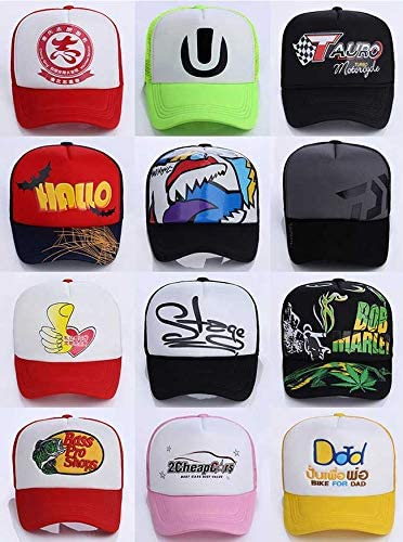 POVOKICI 10 pcs Sublimation Hats with Adjustable Snapback Black Color Polyester Mesh Caps for Heat Transfer Printing