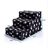 patcharaporn Black Pet Stairs 3 Steps Soft Portable Cat Dog Animal Step Ramp Small Climb