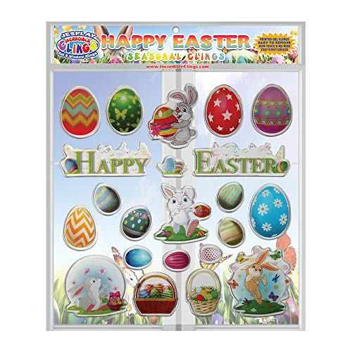 Happy Easter Thick Printed Gel Clings - Incredible Reusable Glass Window Clings for Kids and Adults - Incredible Gel Decals of Seasonal Holiday, Eggs, Easter Bunny, Home, Airplane, Classroom, Nursery