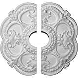 """Ekena Millwork CM17RO2 18""""OD x 3 1/2""""ID x 1 1/2""""P Rotherham Ceiling Medallion, Fits Canopies up to 3-1/2"""", 2 Piece"""