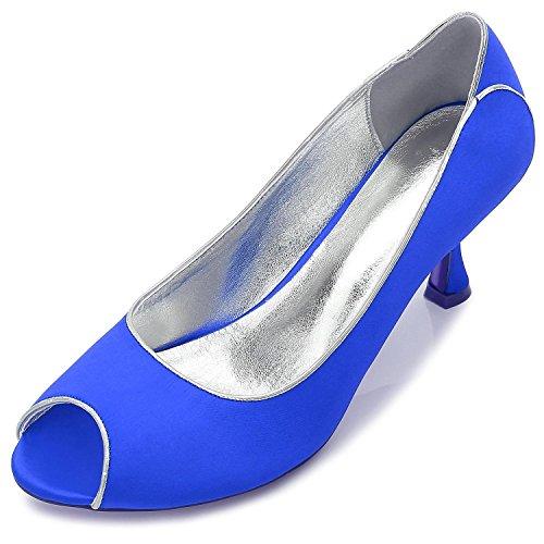 L@YC Damen Hochzeitsschuhe T17061-53 Silk Peeking Toe Hochzeit & Nacht BüRo & Karriere Blue