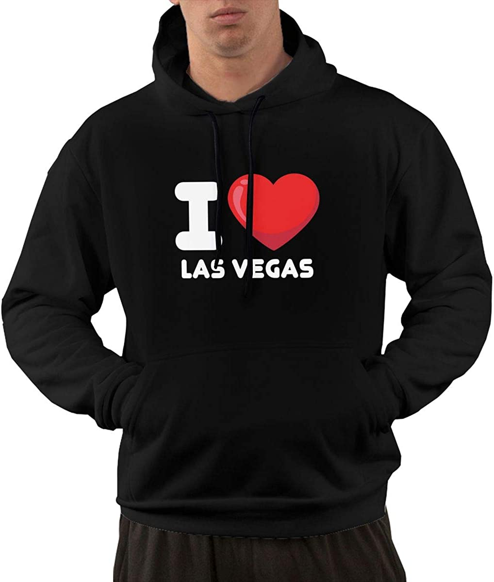 I Love Las Vegas Mens Front Pocket Pullover Cotton Hoodie Sweatshirts