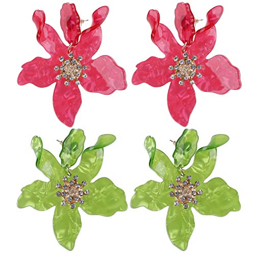 2 Pairs Boho Stud Earrings Chic Flower Petal Earrings with Gold Flower Bud for Women and Girls, Green and Red ()