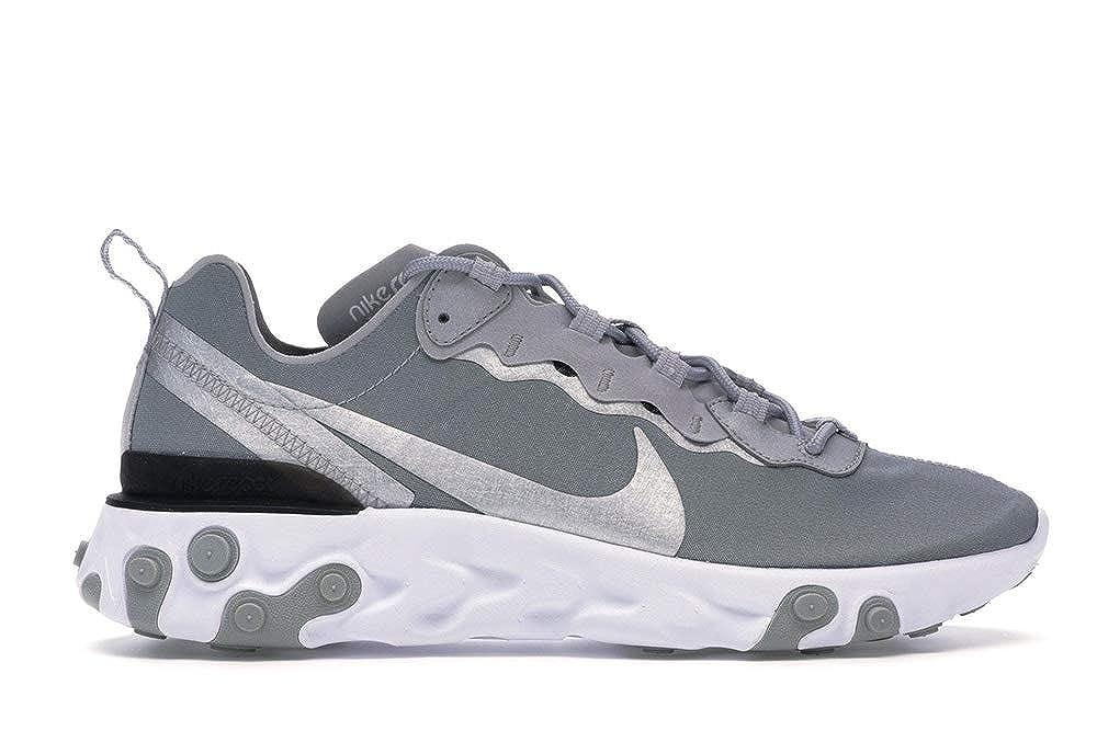 argent 45 EU Nike React EleHommest 55, Chaussures d'Athlétisme Homme