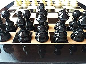 New black handmade beautiful hazel wood chess piece,beech wood 26x26cm , 10X10 inch chessboard box,wooden travel chess set