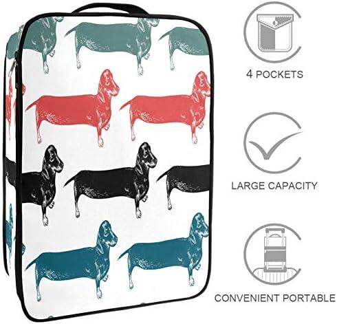 MYSTAGE シューズバッグ ダックスフント 犬 かわいい 靴箱 シューズケース シューズ袋 収納ポーチ 二層式 靴入れ 小物収納 収納ケース アウドドア 出張 旅行