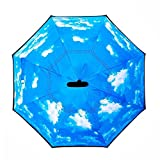 JW Lifestyle Creative Inverted Reverse Umbrella, Straight with C-shaped Handle & Carrying Bag, for Car use, Self Standing (Sky Blue)