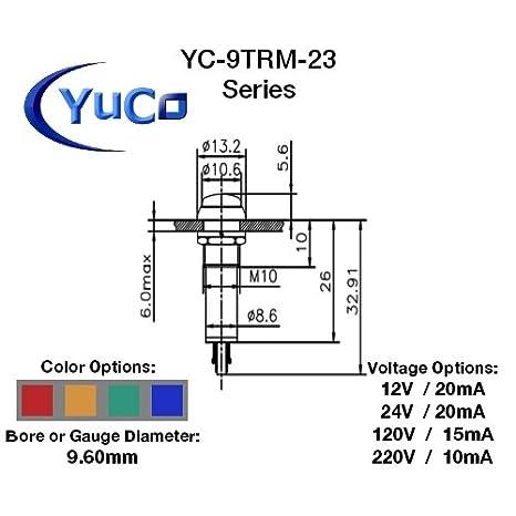 Yuco YC-9WRT-23G-12-10 Miniature Indicator Light 9mm Fresnel Dome Cap AC//DC Green 12V 10