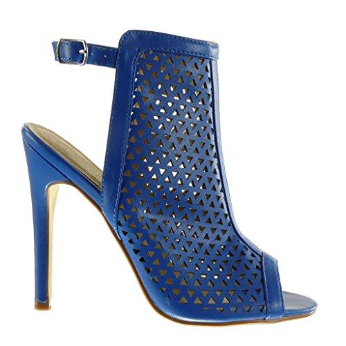 Angkorly - Zapatillas de Moda Sandalias Botines stiletto Peep-Toe Correa de tobillo mujer perforado Talón Tacón de aguja alto 12.5 CM - Azul