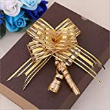 Christmas Gift Pull Bows, Wedding Gift Wrap Pull String Bows, Gift Knot with Ribbon Strings, Set of 10, Gold