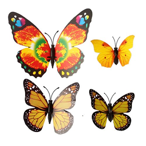 Kingfansion 12pcs Fashion 3D Wall Stickers Butterfly Fridge Magnet Decoration Home (Yellow)